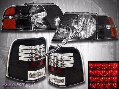 02-05 Ford Explorer 4-Door 6 Piece Combo Headlights + LED Tail Lights Black Ford Explorer Headlight Door
