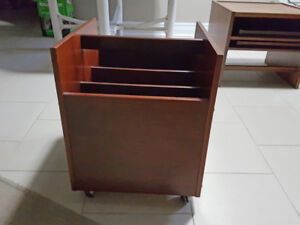Magazine rack, solid rosewood on casters By Rolf Hesland OFFERS!