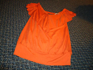 Ladies Size S/P Orange Tank With Frill