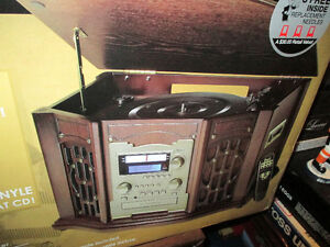Wooden Cabinet Music Center with Recordable CD Player- Mint
