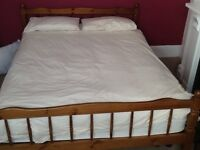 Pine king size bed with mattress