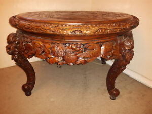 Antique Hand Carved dining sized table