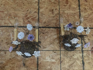 French 2-arm Wall Sconces with Porcelain Flowers.