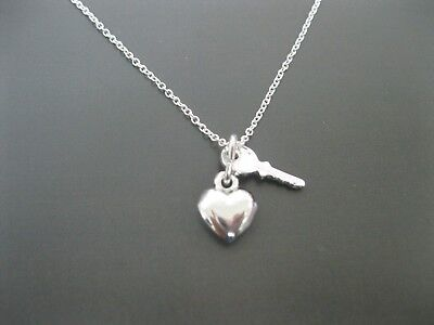Sterling Silver Small Key and Heart Necklace Pendant Necklace - 18 Inches
