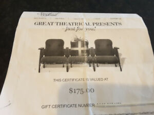 Statford Festival Gift Certificate valued at $175