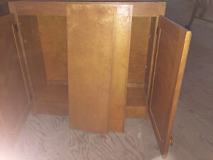 Upper Cabinet - Birch wood with scroll bottom trim London Ontario image 3
