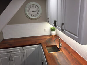 Custom Reclaimed Barn Wood & Live Edge Countertops
