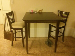 Wooden pub table and 2 chairs
