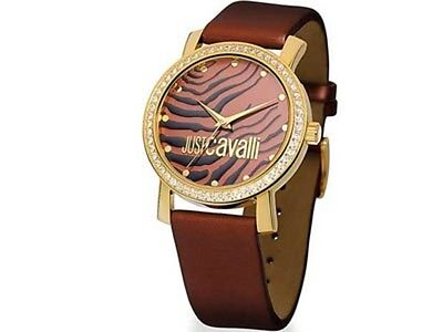 (JUST CAVALLI DRESS BROWN DIAL CRYSTALS LEATHER LADIES WATCH R7251103555 NEW)