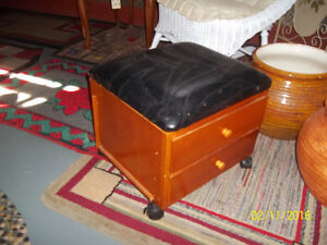 Ottoman/Sewing Cabinet with Two (2) Drawers