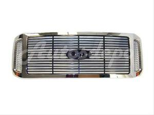 For 2005-2007 Ford Super Duty Grille Chrome Frame With Black Billet Insert
