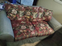 Denim and Floral Sofa and Loveseat - Good Condition!