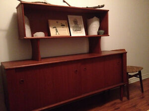 mid-century teak sideboard with hutch in mint condition
