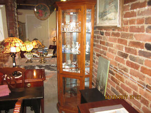 Corner Curio China Cabinet with light
