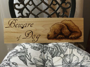 HANDMADE WOODBURNING 'BEWARE OF DOG SIGN' WITH CUTE PUPPY Peterborough Peterborough Area image 2