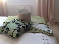 Matching set of new green silk effect curtains,light shade and cushion