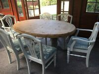 Shabby chic extendable dining room table and x6 chairs