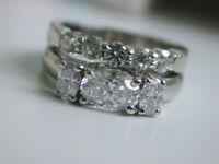 1.70TCW OVAL ROUND BRILLIANT CUT F/VS1 DIAMOND PLATINUM RING SET