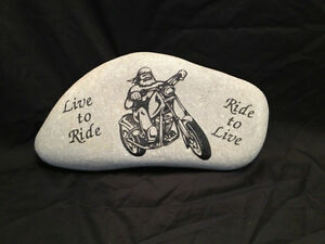Motorcycle custom stone etching services