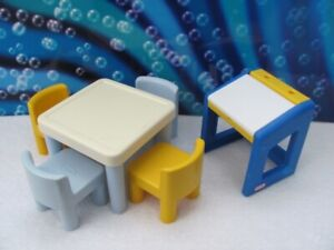 Little Tikes Doll house furniture ~ Desk, table & 4 chairs