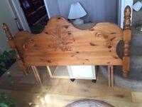Double bed pine wood headboard
