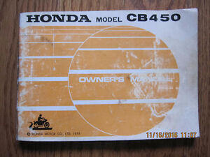 1973 Honda CB 450 Owners Manual