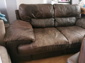 Chcolate brown leather sofa