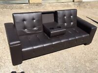 Black leather sofa bed, Free delivery