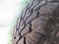 """Two 15"""" winter tires with 90% tread. Buy both for $100.00"""