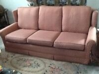 dusty pink 3 seater sofa