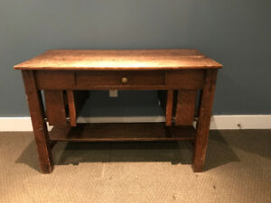 Antique mission style oak desk; Desk Chair
