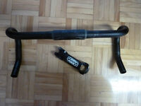 Road Bike Drop handle bar (42cm c-c) with stem (110mm, 8 degree)
