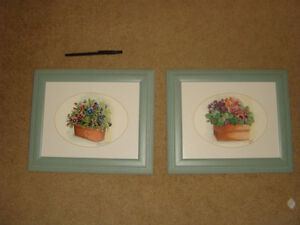 Peggy Abrams Pansy Flower Prints with jade green Wood Frames