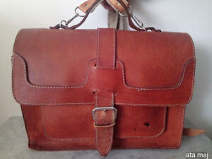 Natural Leather Briefcase/Backpack