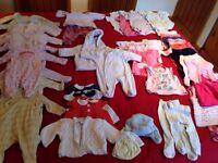 Newborn girls baby clothes bundle, 48 items