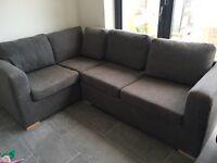 Grey fabric corner sofa bed