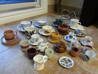 COLLECTION of Porcelain cups Worldwide some made from wood  Cup