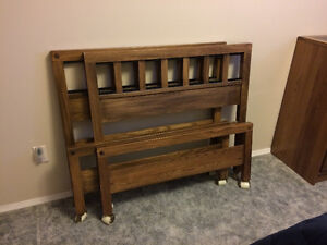 Two Single Beds with Matching Chest of Drawers in Elm