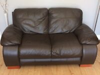 2 seater and 3 seater brown leather couches