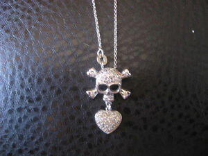 Sterling silver and rhinestone skull/heart necklace