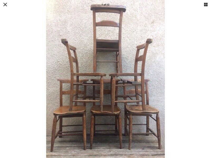 Set of 6 Antique Chapel Chairs - Unrestored