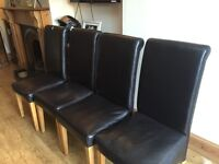 3/4 brown faux leather dining chairs for sale