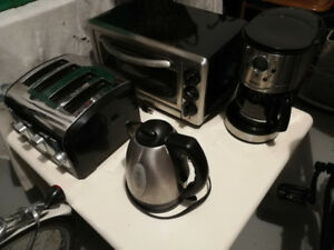 Toaster Oven, 4 Slice Toaster, Coffee Maker and Tea Kettle