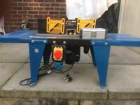 Router table and router with router bits