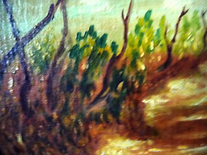 "Vintage Oil on Board ""Man Walking, From A Dream"" 1920's Stratford Kitchener Area image 4"