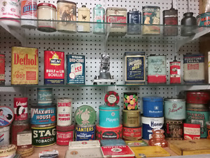 Nostalgia tins, signs, bottles, collectibles plus 1000 booths