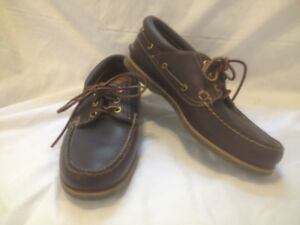 Men's Timberland Dark Brown Oiled Leather Deck Shoes 8M