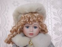 Porcelain Doll Little AMAZING BLUE EYES. 17 inch tall never used