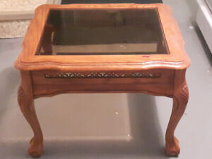 Oak and glass end tables