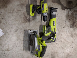 Ryobi one plus hammer drill skill saw and Reciprocating Saw